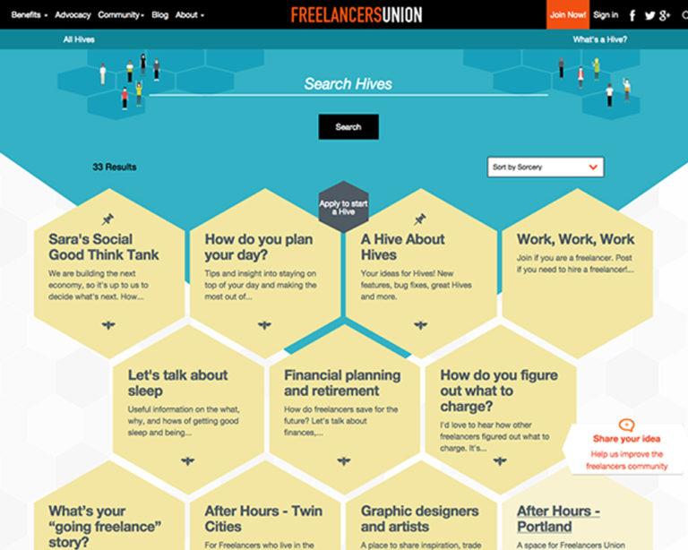 Freelancers Union Hives Social Platform