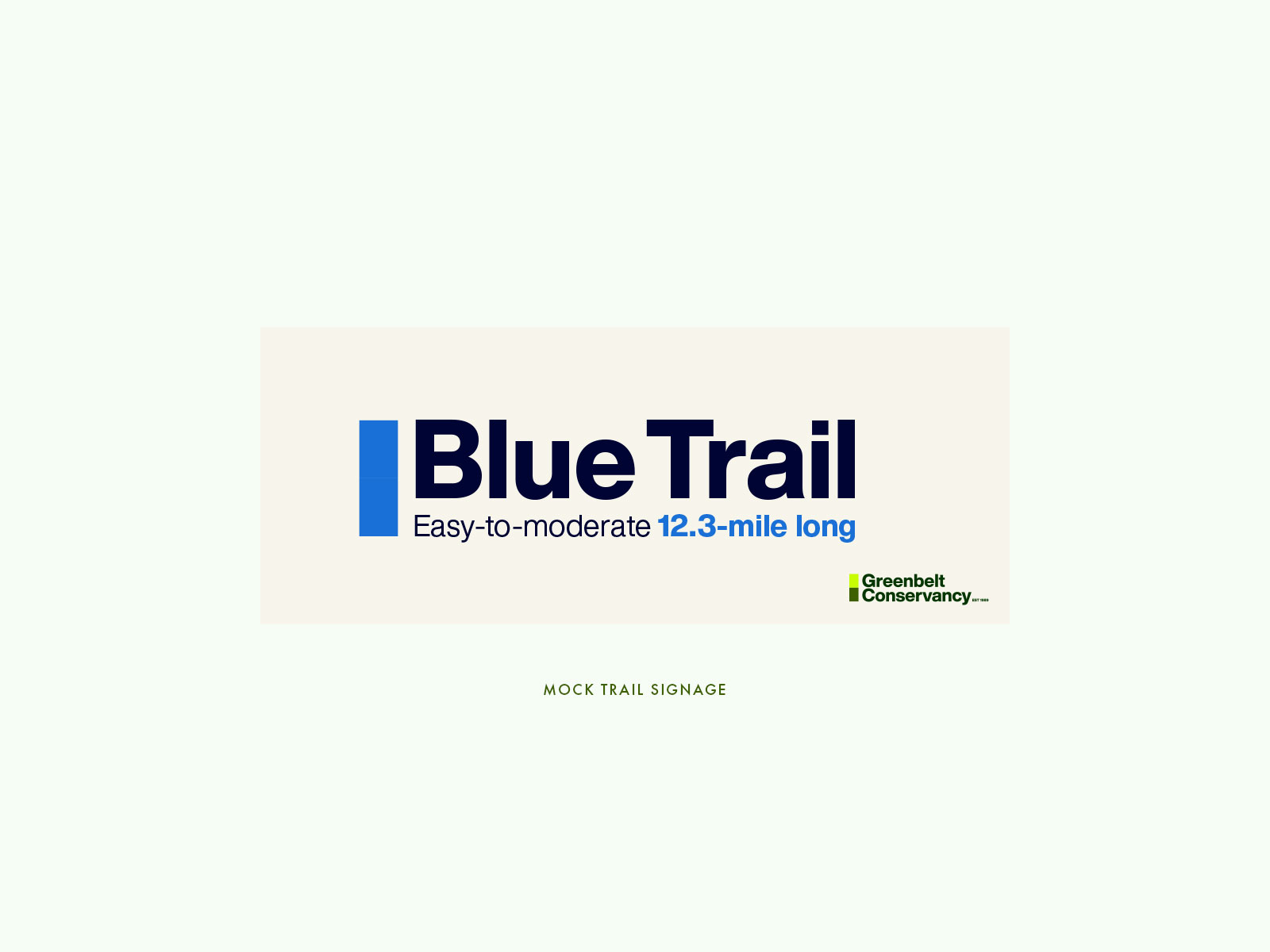 Greenbelt Conservancy rebrand exercise: Signage Mockup